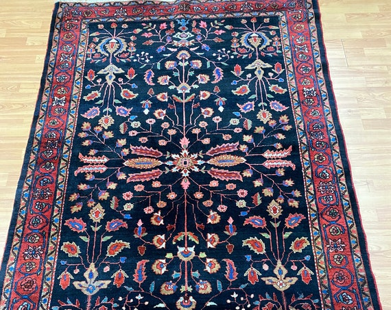 "4'5"" x 6'9"" Antique Floral Turkish Oriental Rug - 1920s - 100% Wool - Hand Made"