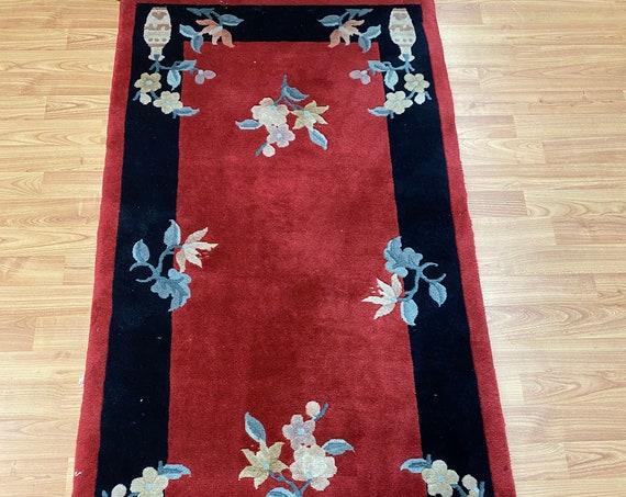 "2'3"" x 4'8"" Chinese Art Deco Oriental Rug - Full Pile - Hand Made - 100% Wool"