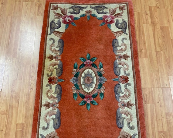 "2'5"" x 4'9"" Chinese Aubusson Oriental Rug - Full Pile - Hand Made - 100% Wool"