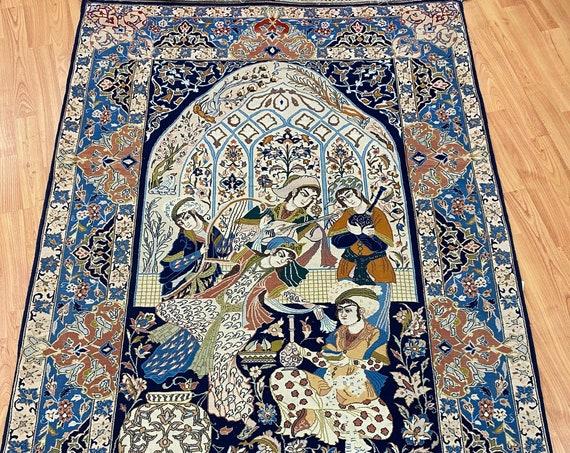 """3'7"""" x 5'3"""" Antique Turkish Oriental Rug - 1930s - 800 KPSI - Wool and Silk"""