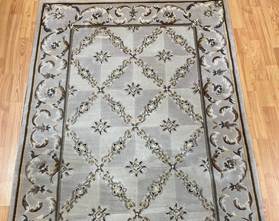 """3'6"""" x 5'5"""" Chinese Art Deco Runner Oriental Rug - Tufted - 100% Wool - Hand Made"""