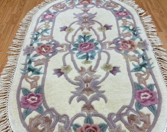 """2'6"""" x 4'7"""" New Oval Chinese Aubusson Oriental Rug - Tufted - Hand Made - 100% Wool"""