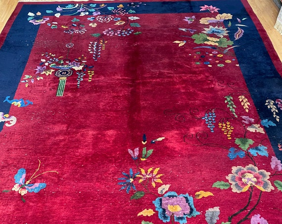 """8'10"""" x 11'10"""" Antique Chinese Art Deco Oriental Rug - 1920 - Hand Made - 100% Wool"""