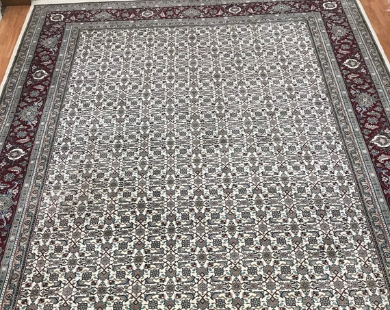 "9'2"" x 12'4"" Indian Herati Fish Design Oriental Rug - Hand Made - 100% Wool"
