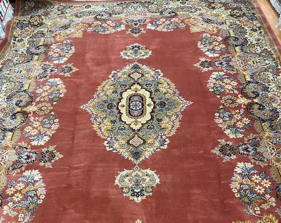"9'10"" x 14' Ethan Allen Kirman Design Oriental Rug - 100% Wool - Made in Belgium"