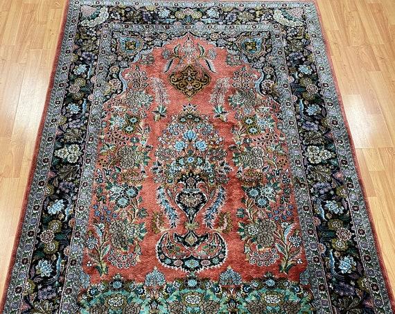 4' x 6' Kashmir Oriental Rug - Very Fine - 300 KPSI - Hand Made - 100% Silk