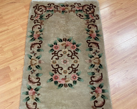 2' x 4' Chinese Aubusson Oriental Rug - Full Pile - Hand Made - 100% Wool