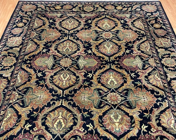 "8'1"" x 10'1"" Indian Agra Oriental Rug - Black - Hand Made - 100% Wool"