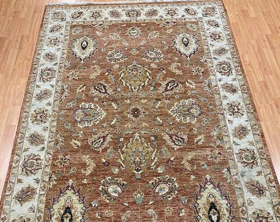 "5'5"" x 8'7"" Indian Agra Oriental Rug - Full Pile - Hand Made - 100% Wool"