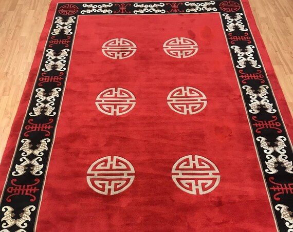 6' x 9' Chinese Art Deco Oriental Rug - Full Pile - Hand Made - 100% Wool