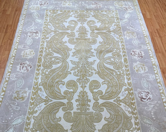 """5'10"""" x 8'10"""" New Indian Art Deco Oriental Rug - Hand Made - Wool and Silk"""