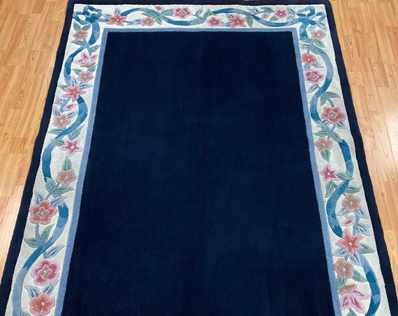 "4'11"" x 7'6"" New Indian Modern Oriental Rug - Hand Made - 100% Wool"