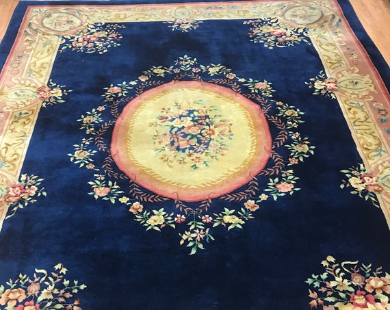 "8'10"" x 11'6"" Chinese Aubusson Oriental Rug - Full Pile - Hand Made - 100% Wool"