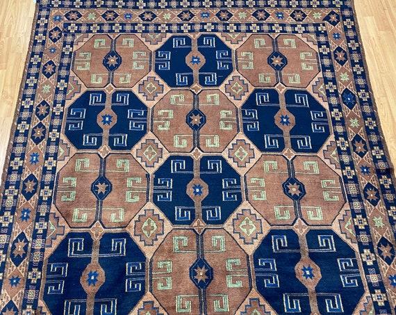 "5'7"" x 7' Pakistani Kazak Oriental Rug - Full Pile - Hand Made - 100% Wool"