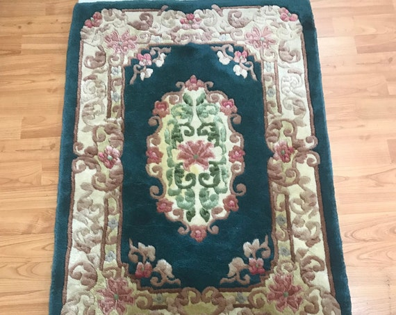 2' x 3' Chinese Aubusson Oriental Rug - Full Pile - Hand Made - 100% Wool