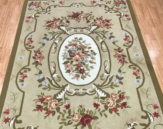 "5'3"" x 8'2"" Chinese Floral Stitch Work Oriental Rug - Hand Made - 100% Wool"