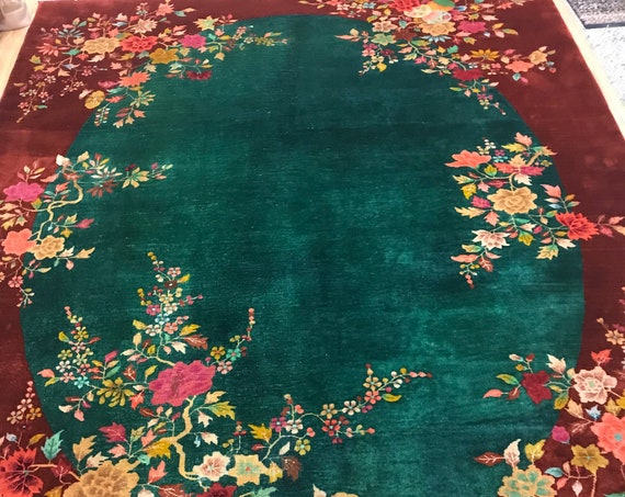 9' x 12' Antique Chinese Art Deco Oriental Rug - 1930s - Hand Made - 100% Wool