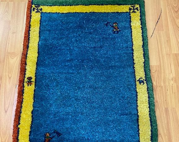"1'10"" x 3' Indian Gabbeh Oriental Rug - Hand Made - 100% Wool - Vegetable Dye"