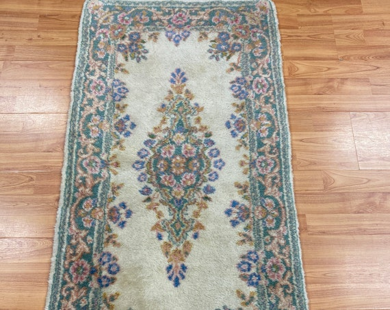 """2'1"""" x 4' Indian Oriental Rug - 1950 - Full Pile - Hand Made - 100% Wool"""