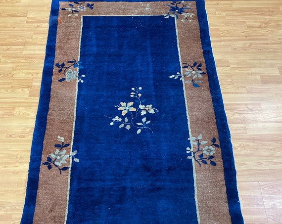 "3'2"" x 5'9"" Antique Chinese Art Deco Peking Oriental Rug - 1930s - Hand Made"
