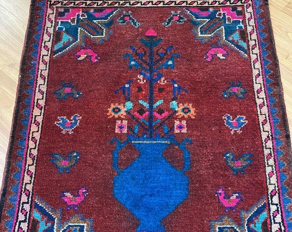 """2' x 2'6"""" Antique Turkish Oriental Rug - 1940s - Hand Made - 100% Wool"""