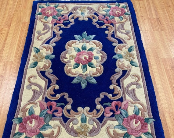 """2' x 3'1"""" Chinese Aubusson Oriental Rug - Full Pile - Hand Made - 100% Wool"""