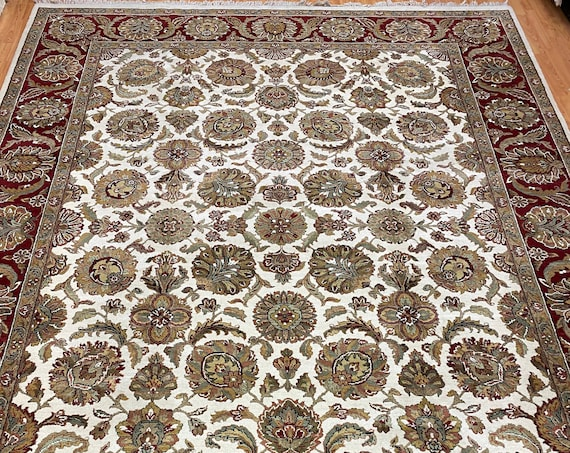 9' x 12' Indian Agra Design Oriental Rug - Full Pile - Hand Made - 100% Wool