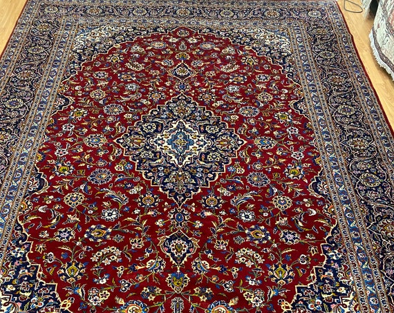 """8'9"""" x 12'7"""" New Indian Floral Oriental Rug - Full Pile - 100% Kork Wool - Hand Made"""