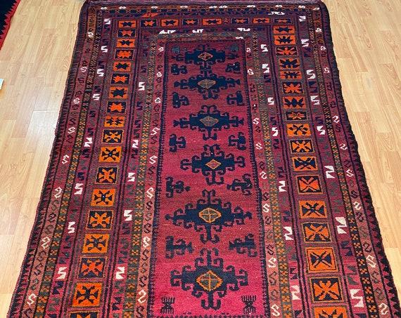 """4'4"""" x 7'6"""" Afghan Turkeman Oriental Rug - Full Pile - Hand Made - 100% Wool"""