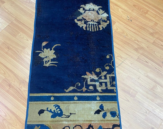 """1'10"""" x 4'6"""" Antique Chinese Art Deco Oriental Rug - 1920s - Hand Made - 100% Wool"""