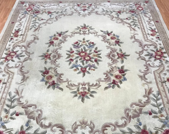 """7'6"""" x 9'5"""" Chinese Aubusson Oriental Rug - Tufted - Hand Made - 100% Wool"""