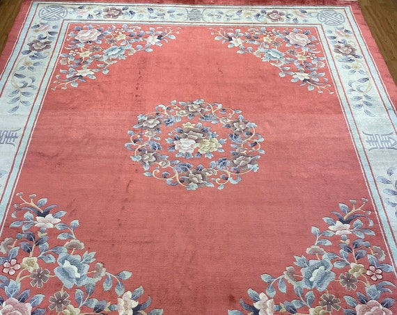 """8' x 9'10"""" Chinese Aubusson Oriental Rug - Full Pile - Hand Made - 100% Silk"""