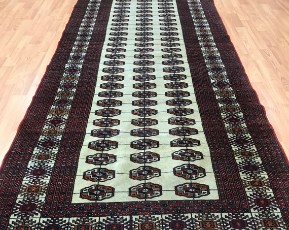 "3'1"" x 10'4"" Pakistani Turkeman Floor Runner Oriental Rug - Hand Made - 100% Wool"