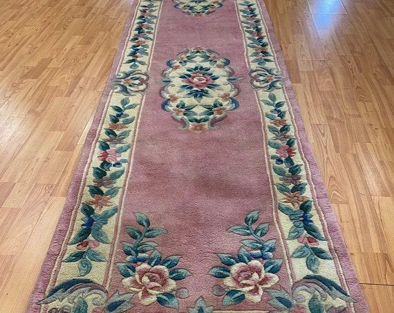 "2'6"" x 12' Chinese Aubusson Floor Runner Oriental Rug - Hand Made - 100% Wool"