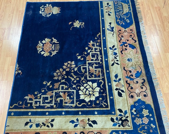 "4'6"" x 6'6"" Antique Chinese Art Deco Oriental Rug - 1920s - Hand Made - 100% Wool"