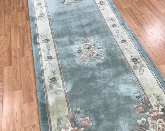"2'7"" x 8'1"" Chinese Aubusson Oriental Rug Floor Runner - Hand Made - 100% Wool"
