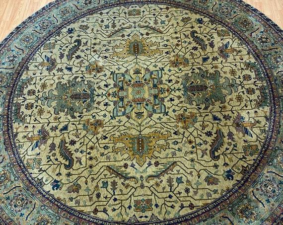 9' x 9' Round Egyptian Agra Oriental Rug - Hand Made - Very Fine - 100% Wool