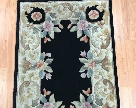 2' x 3' Chinese Aubusson Oriental Rug - Tufted - Hand Made - 100% Wool