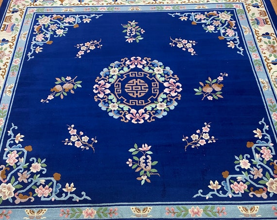 "8'2"" x 8'2"" Square Chinese Aubusson Oriental Rug - Hand Made - 100% Wool"