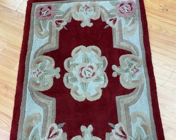 2' x 3' Chinese Aubusson Oriental Rug - Full Pile - Hand Tufted - 100% Wool