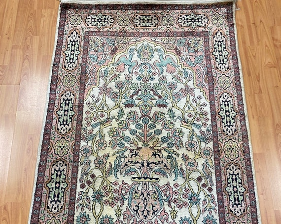 3' x 5' Kashmir Prayer Design Oriental Rug - Full Pile - Hand Made - 100% Silk