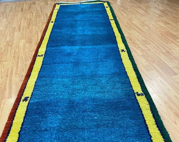 "2'8"" x 9'8"" Indian Gabbeh Runner Oriental Rug - Hand Made - 100% Wool - Vegetable Dye"