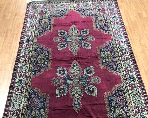 "4'9"" x 8'9"" Turkish Serapi Tapestry Rug - 1970s - Hand Made - 100% Wool"
