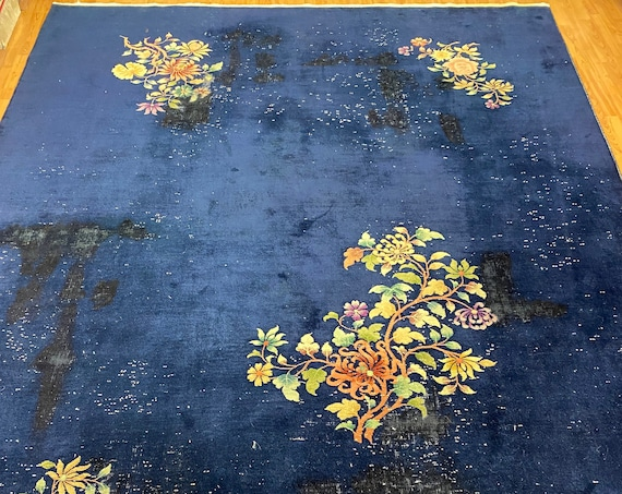 """8'10"""" x 11'6"""" Antique Chinese Art Deco Oriental Rug - 1920 - Hand Made - 100% Wool"""