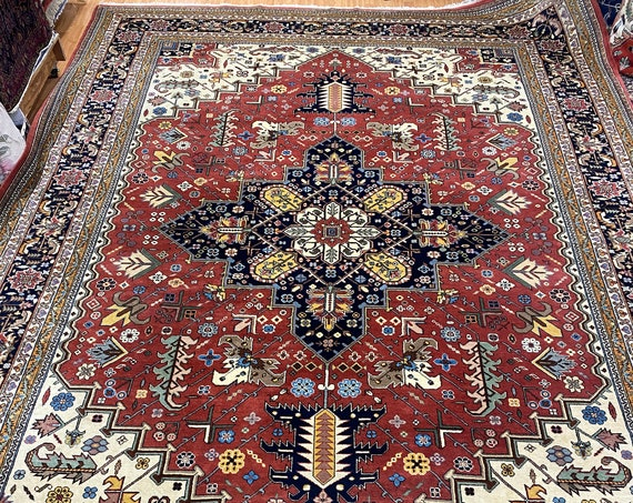 "9'9"" x 14' Romanian Serapi Oriental Rug - Full Pile - Hand Made - 100% Wool"