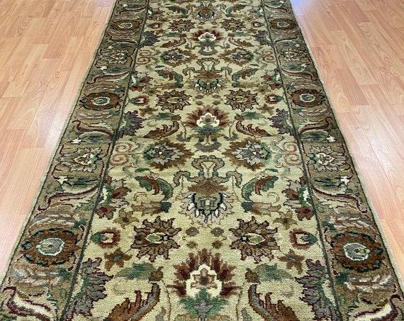 "2'6"" x 10' Indian Agra Floor Runner Oriental Rug - Full Pile - Hand Made - 100% Wool"