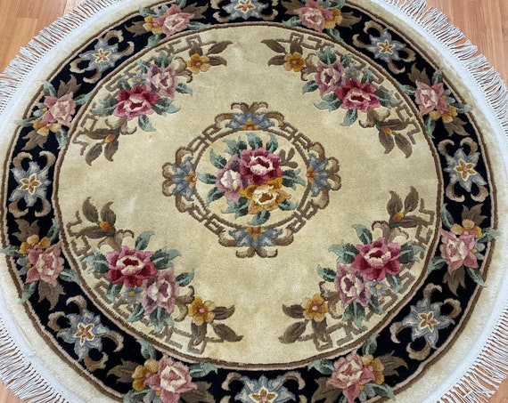4' x 4' Round Chinese Aubusson Oriental Rug - Full Pile - Hand Made - 100% Wool