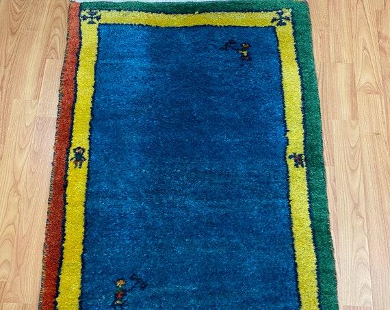 2' x 3' Indian Gabbeh Oriental Rug - Hand Made - 100% Wool - Vegetable Dye