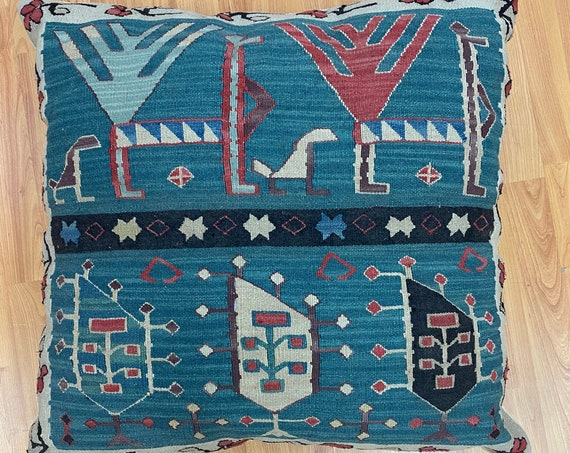 "Two Turkish Kilim Pillows - Square - 24"" x 24"" - Hand Made"