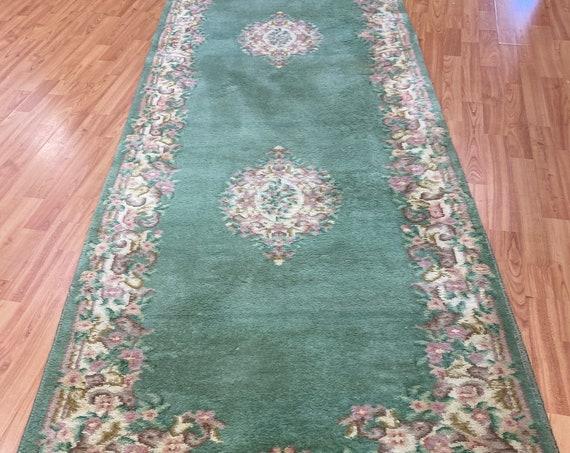 "3'1"" x 12'1"" Chinese Aubusson Floor Runner Oriental Rug - Hand Made - 100% Wool"